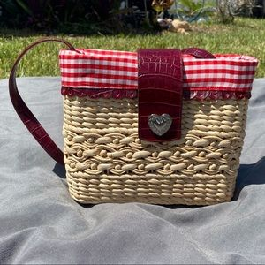 Brighton Straw and Red Leather Basket Tote w/Heart